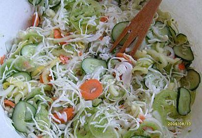Receptbázis - Csalamádé télre - 2 kg paprika,2 kg zöld paradicsom,2 kg vöröshagyma,2 kg uborka,2 kg káposzta,3 dl 10 %-os ecet,40 dkg cukor,20 dkg só,1 púpos kanál borkénpor, - , A paprikát, paradicsomot, hagymát, uborkát, káposztát lereszeljük vagy leszeljük. Rátesszük az ecetet, cukrot, sót és a borkénport. Összekeverjük, és 1 napig állni hagyjuk. Közben többször meg lehet keverni. Üvegekbe rakjuk, és lezárjuk.
