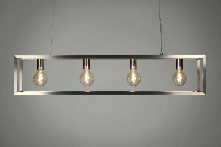 Eettafel lamp hang stalen frame hanglamp 87313 modern for Lampen modern