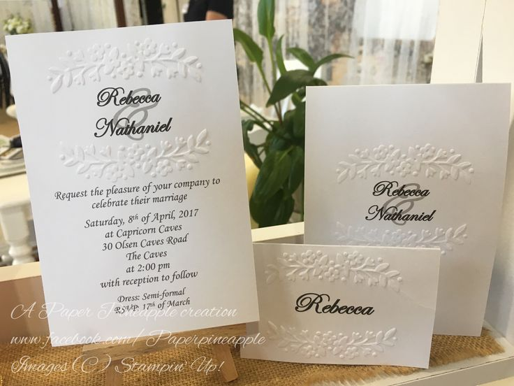 Embossed traditional invitations. Other colours available.
