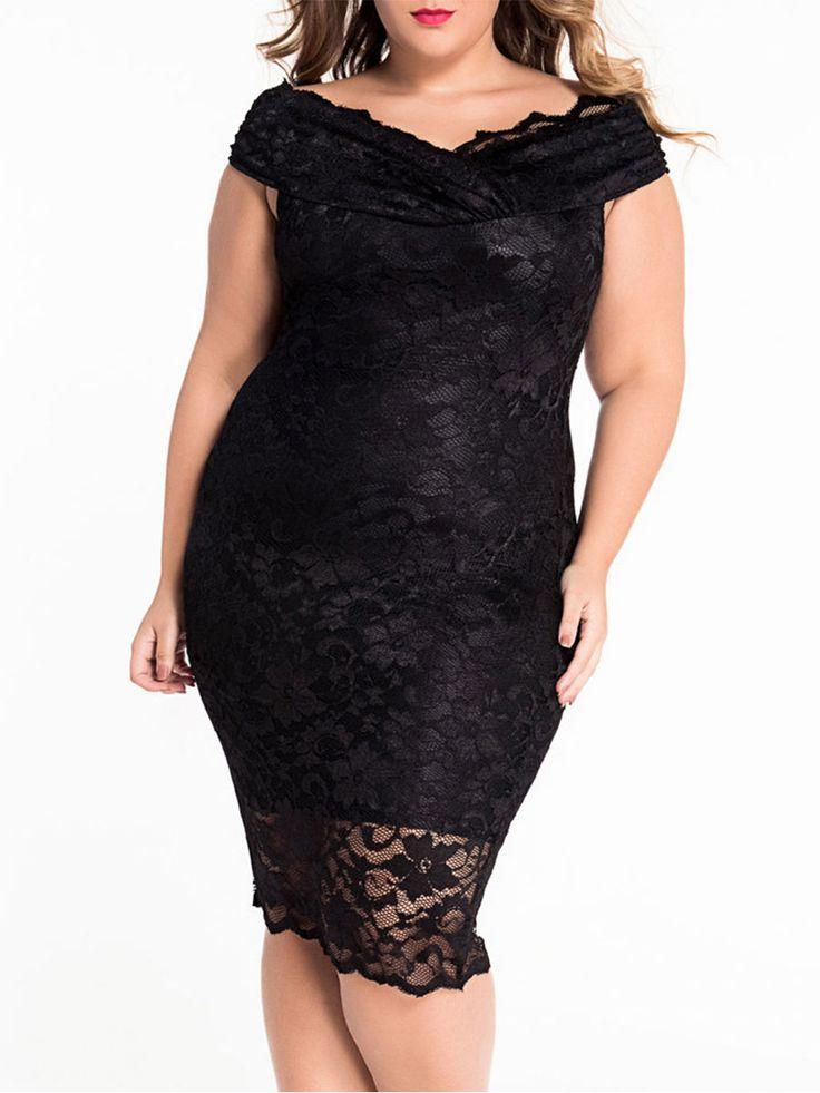 V Neck Lace Plain Plus-size-bodycon-dress Only $32.95 USD More info...