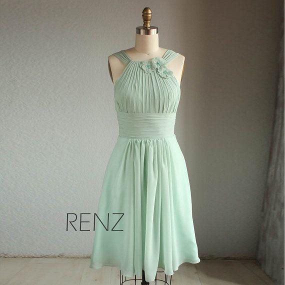 Wedding dress , HALTER chiffon party dress, bridesmaid dress, formal dress in light green mint (B019)