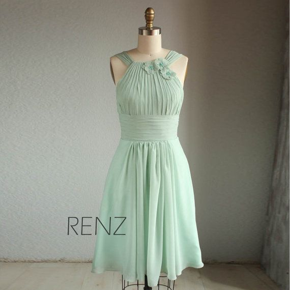 Wedding dress , HALTER chiffon party dress, bridesmaid dress, formal dress in light green mint (B019) @Amy Wasinger-Hepburn ...Im REALLY leaning towards this one