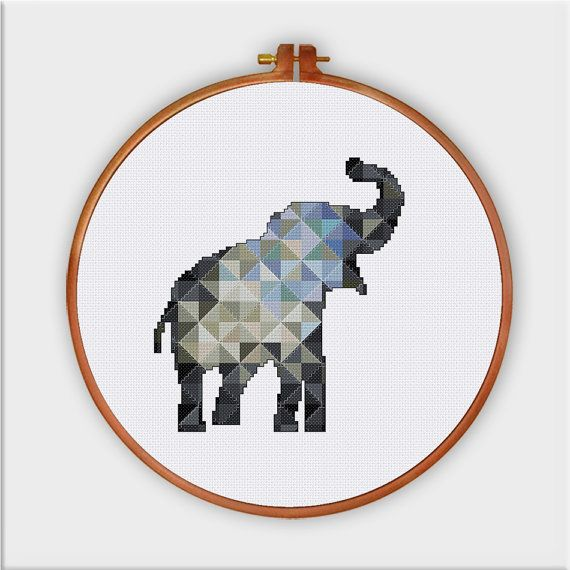 Geometric Elephant cross stitch pattern decor cross par ThuHaDesign