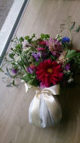 Dahlia, stock and cornflower