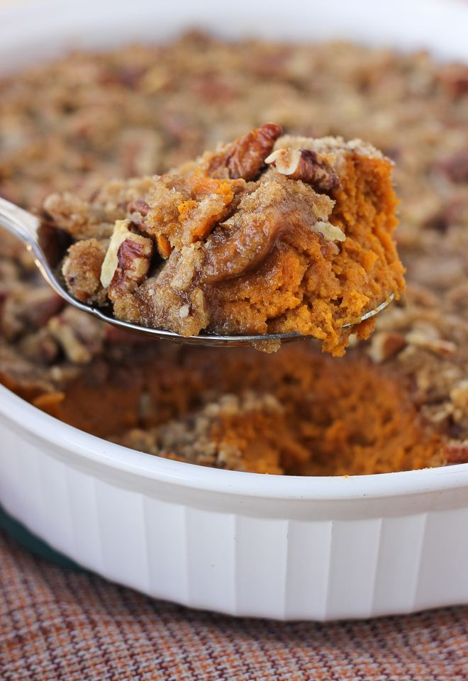 Sweet Potato Casserole with Pecan Praline Topping!{Dairy-Free, Gluten-Free}