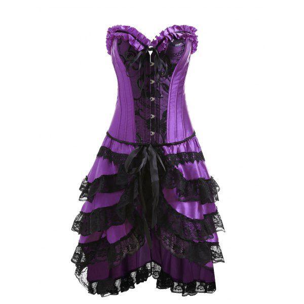 Two Piece Flounce Plus Size Corset Dress - Purple Xl Mobile