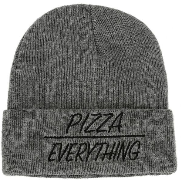 Pizza Over Everything Beanie | Hot Topic ($13) ❤ liked on Polyvore featuring accessories, hats, beanies, grey hat, grey beanie hat, gray beanie, embroidered beanie and embroidered beanie hats
