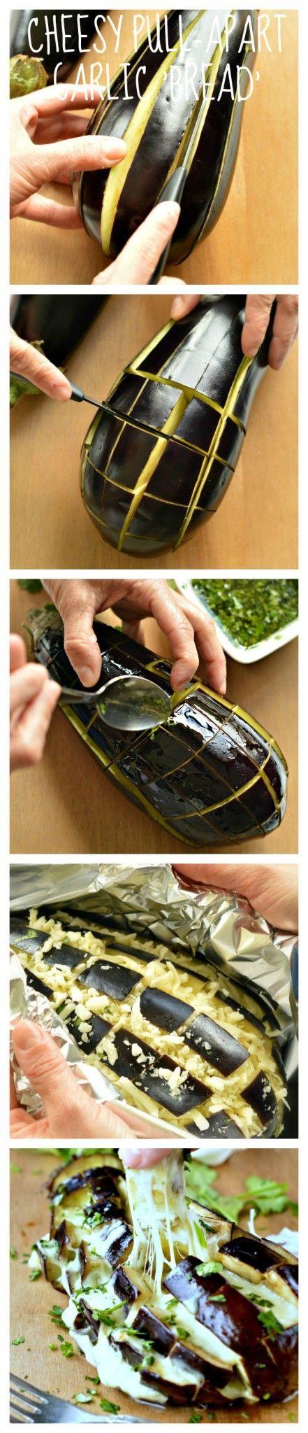 Berenjena con ajo, queso y aceite y al horno. [INGLÉS]