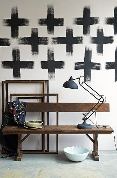 paint crosses on the wall, it is THE trend in Europe