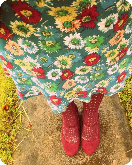 Lovely shoes and tights with the prettiest frock fabric :)
