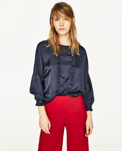 Image 2 of FRILLED SATEEN BLOUSE from Zara