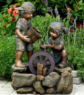 Boy And Girl Water Fountain Lowes Yard Pinterest