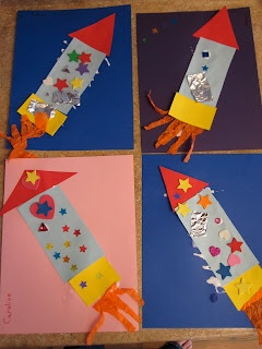 Several cute preschool rocket crafts.