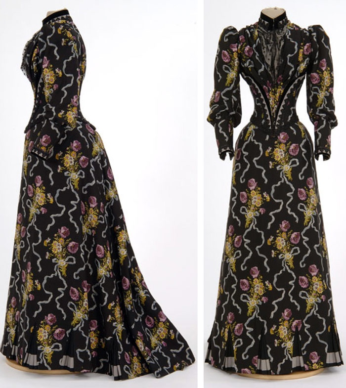 Two-piece black cashmere day dress, Mary Abigail O'Keefe Molloy (attr.), St. Paul, ca. 1890-93, printed with purple and yellow flowers. Minnesota Historical Society