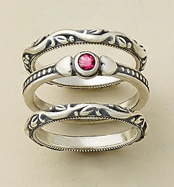 Renaissance Bands stacked with a Sweetheart Ring with Lab-Created Ruby #JamesAvery