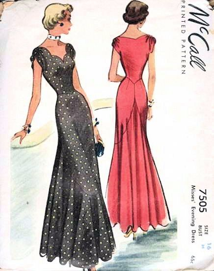 1940s MUST HAVE EVENING DRESS PATTERN FIGURE FITTING SCALLOPED NECKLINE BASQUE POINTS AT WAIST IMPORTANT BACK DESIGN GRACEFUL FLOWING HIGH LOW FLOUNCE McCALL 7505 A RARE PATTERN