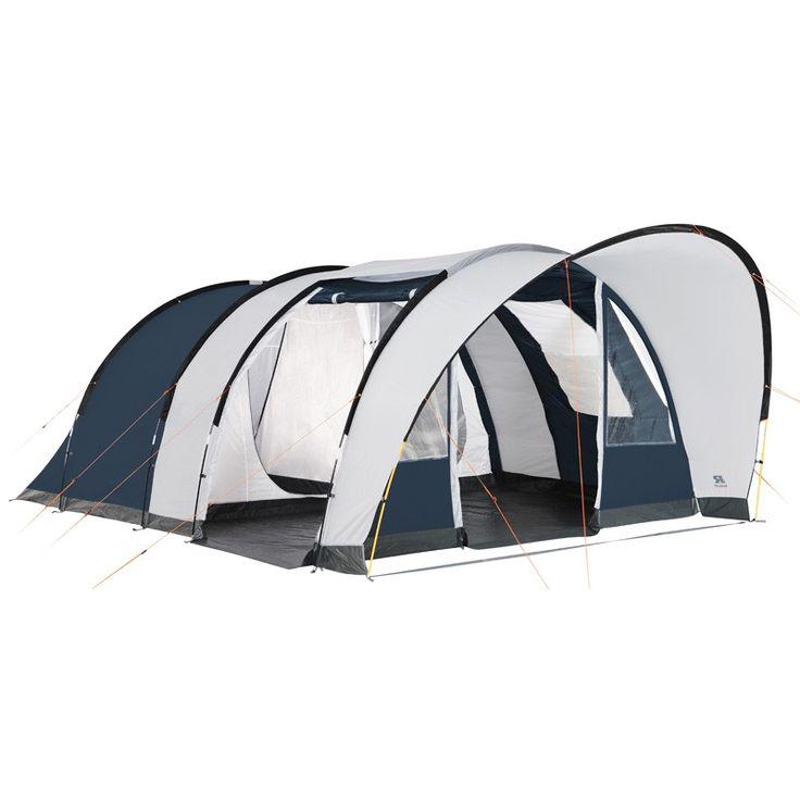 Tente de Camping Raclet MEDINA 5 places  Tente tunnel familiale 5 arceaux avec un séjour spacieux et 2 chambres. Deux portes d'entrée permettent d'aérer l'intérieur. On aime : le tapis de sol cousu au double-toit assure un montage de l'ensemble très simple et rapide. Le pare-soleil donne un look d'enfer et est pratique si il pleut par exemple. Bref, une tente familiale à un bon rapport qualité/prix !