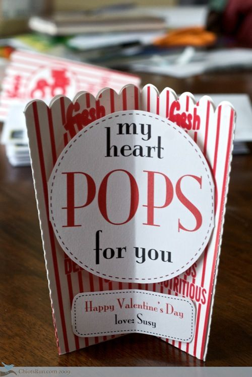 "I don't want to use this idea for a card, but the ""my heart pops for you"" part of it would be great to attach to a box of popcorn!!"
