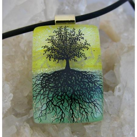$24.00 TREE OF LIFE Dichroic Glass Pendant includes necklace P84 by DichroicCreations on Handmade Australia