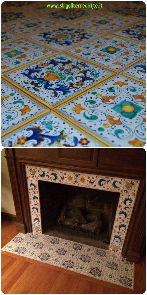 Michelle chimney place with Lorenza's tiles, 2015 - www.sbigoliterrecotte.it