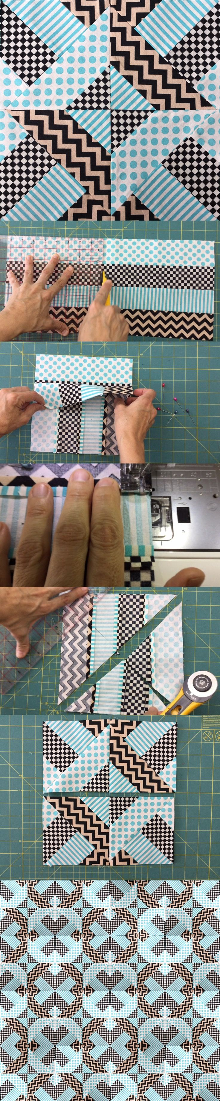 From strips of fabric to a quilt block - free tutorial. A good stash buster for charity tops
