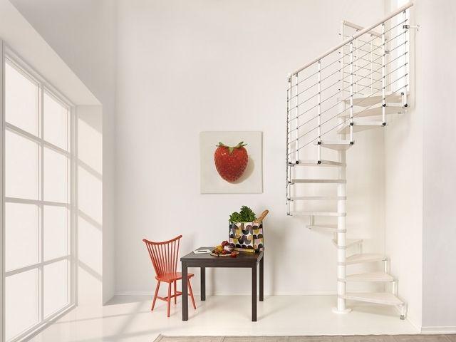 un escalier en colimaçon blanc avec un garde-corps à barreaudage horizontal