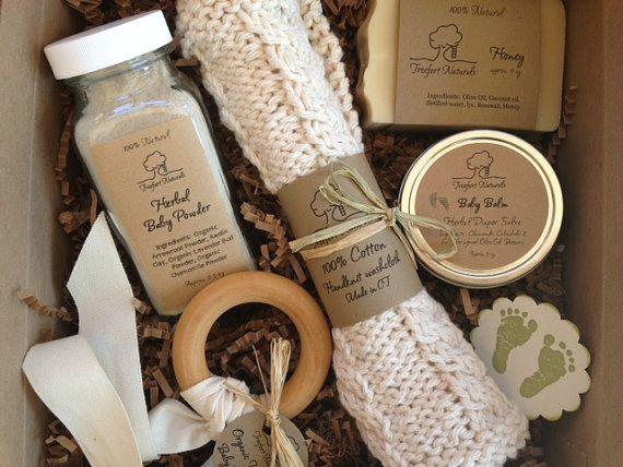 Baby Bath Gift Set - All natural organic baby soap, baby powder, baby balm, cotton washcloth & wooden teether. $35.00, via Etsy.