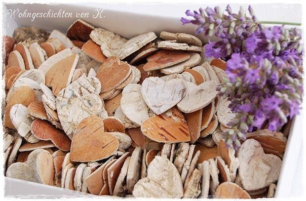 Streudeko Holz Herzen Hochzeit Landhaus Shabby von Wohngeschichten von K. auf DaWanda.com