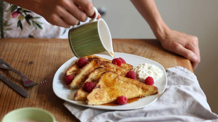 Arabella Forge's healthy, high-protein French toast with cottage cheese, berries and a drizzle of syrup.