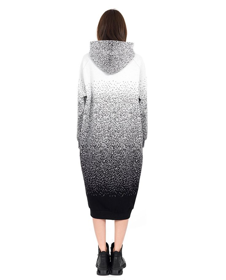 MARIOS Jacquard dress Round Neck Hooded long sleeves with cuffs drawstring at the bottom 100% CO