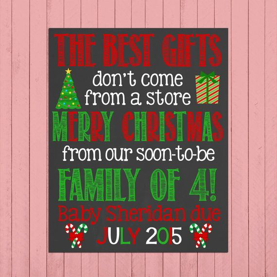 Christmas Pregnancy Announcement Chalkboard Poster Printable // The Best Gifts // Second Child // Pregnancy Reveal Photo Prop // Winter by PersonalizedChalk