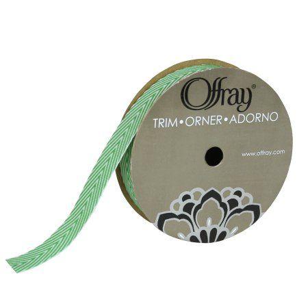 Offray Trim Green Chevron Twill 5/8 Inches X 3 Yards