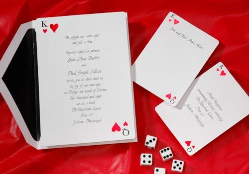 Having a Vegas Wedding....or Monte Carlo theme Wedding? Play your cards right and choose the King and Queen of Hearts foil stamped in red and black! Invitations by Quaint Wedding Stationery. Order by August. 31, 2012 and Receive FREE Envelope liners in your choice of color!