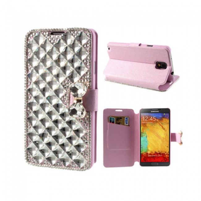 Diamond Bling (Pinkki) Samsung Galaxy Note 3 Suojakotelo - http://lux-case.fi/catalog/product/view/id/23704/s/diamond-bling-pink-samsung-galaxy-note-3-leather-flip-case/