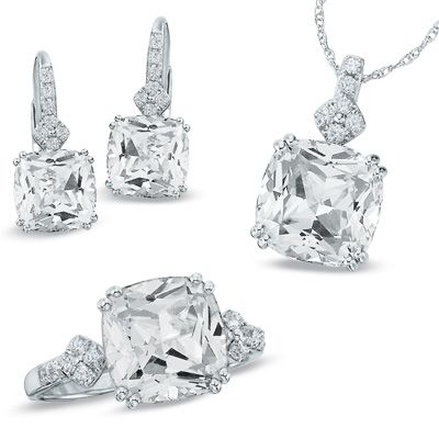 Cushion-Cut Lab-Created White Sapphire Pendant, Ring and Earrings Set in Sterling Silver - Zales