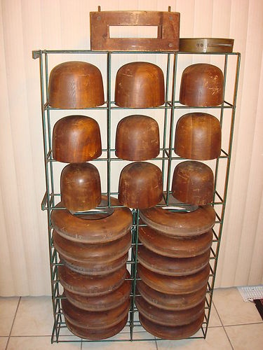 Vtg Antique Millinery Wood Hat Block Mold Brim Form Set | eBay