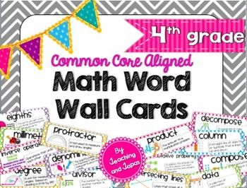 Math Word Wall for the 4th Grade Common Core Standards. This bright and colorful pack will look terrific in your classroom AND these are kid friendly! Every vocabulary word has a brief definition written in simplified, but mathematically accurate, language and colorful illustrations that are perfect in Grade 4.