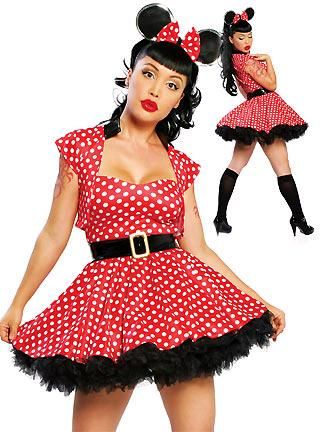 FANCY DRESS RED & BLACK POLKA DOT MINNIE MOUSE COSTUME / DISNEY CHARACTER OUTFIT / ANIMAL UNIFORM - SEXY 3 PC ADULT LADIES MOUSES COSTUMES , ANIMALS OUTFITS , DRESSES & FILM / TV UNIFORMS