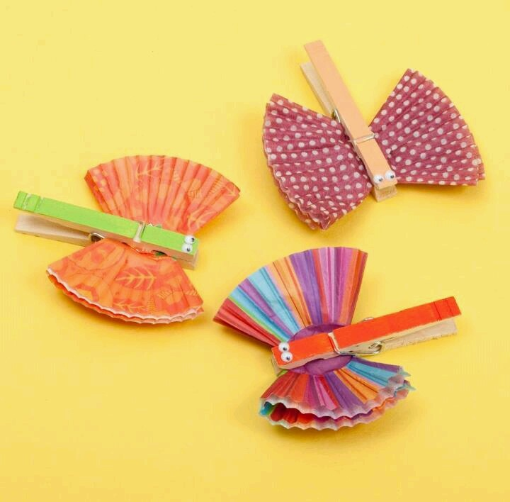 105 best crafts cupcake liners coffee filters images for Close pin crafts