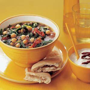 Recept - Kikkererwtensoep met spinazie en yoghurt - Allerhande