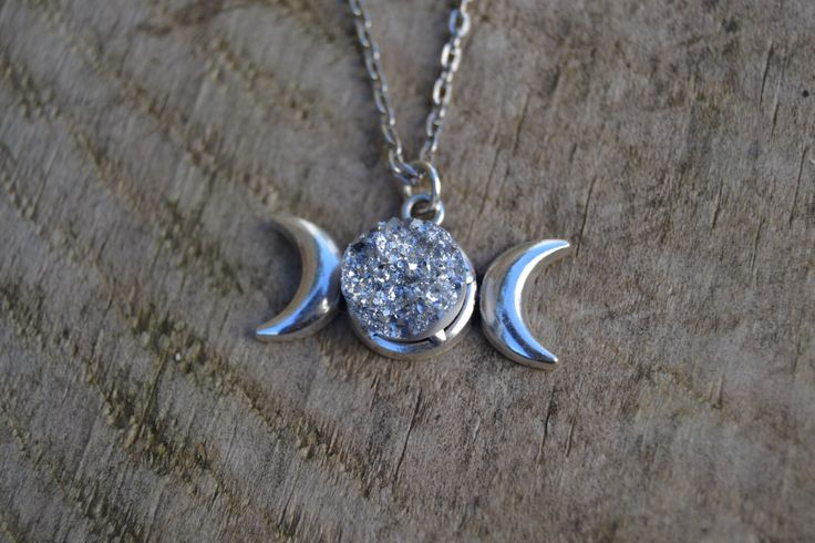 Wiccan jewelry witchcraft , triple moon necklace with silver druzy , druzy moon necklace by ValkyriesSong on Etsy https://www.etsy.com/listing/255528041/wiccan-jewelry-witchcraft-triple-moon