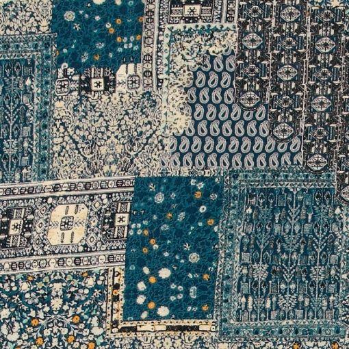 Vevet viskose blå med paisley print