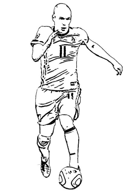 arjen robben kleurplaat voetbal knutselen voetbal en sport