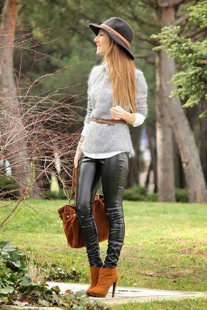 Gris y Camel / leggins de vinilo (PVC leggings)