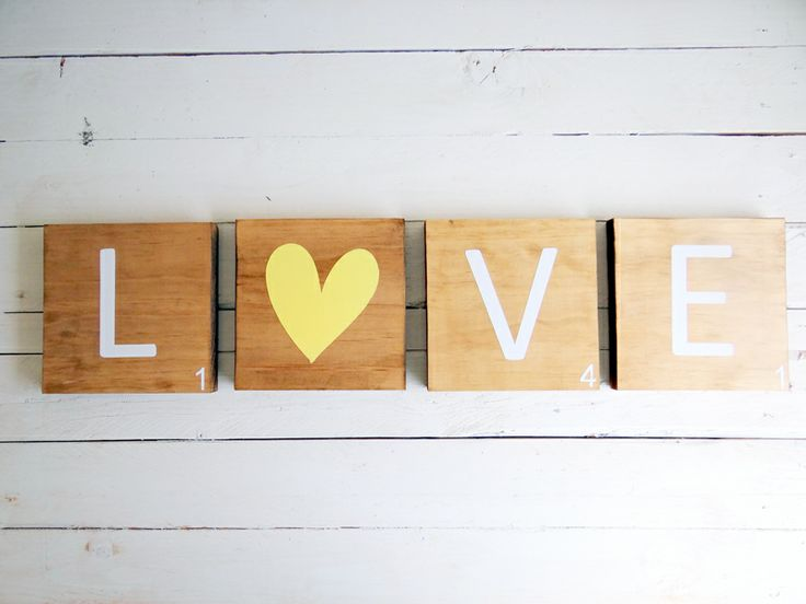 LOVE - Jumbo Timber/ Wooden Scrabble Tiles  Who doesn't love Scrabble Tiles? This LOVE Jumbo Scrabble Tile set is perfect for a unique gift or a great backdrop for your wedding photos.  Dimensions - 140mm x 140mm x 19mm (thick)  Beautiful to look at with a dark oak stain but light enough to see the beautiful timber grain. The lettering can be applied in any colour but white & grey are firm favourites.  The signs I create are created for each individual customer.. All signs are ...