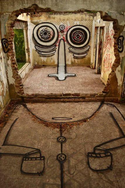 Un monstre gentil habite la ruine ! / Street art.