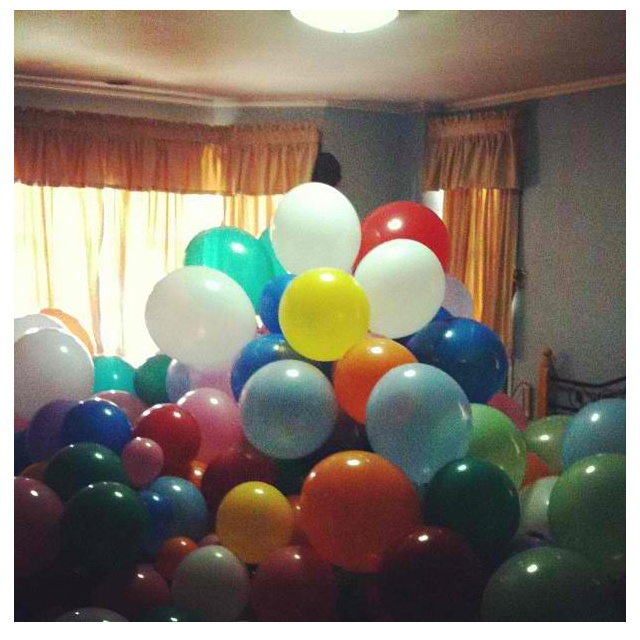 My anniversary gift for my boyfriend. Waking up to 365 balloons with a letter inside each. Made possible with the help of our friends, families, and house helpers.