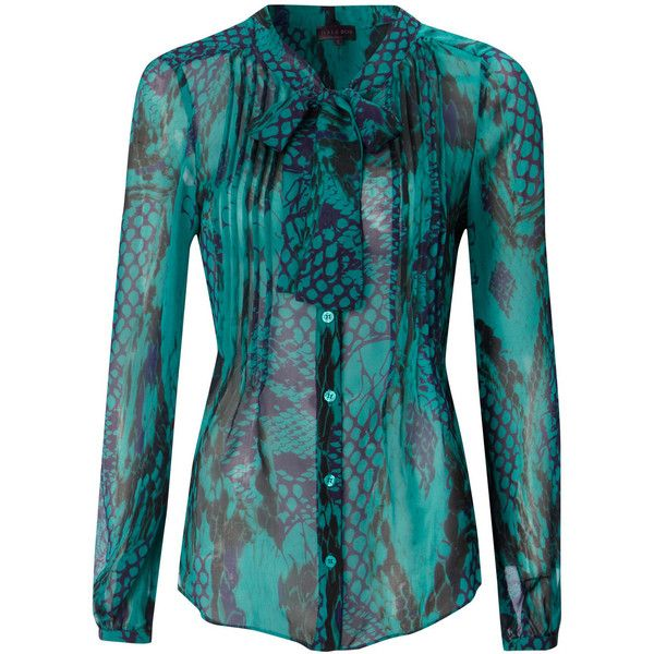 Hale Bob Silk Blouse - Teal ($280) found on Polyvore