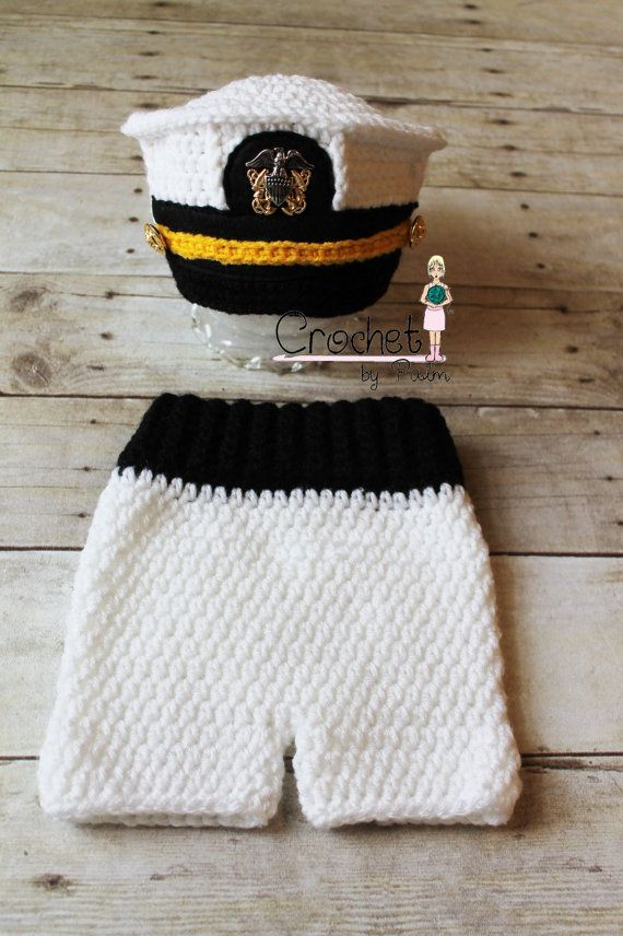 Crochet US Navy Hat, Navy Officer Hat, Baby Pants set, Military Hat, Newborn Photography Prop -- Made to order on Etsy, $50.00
