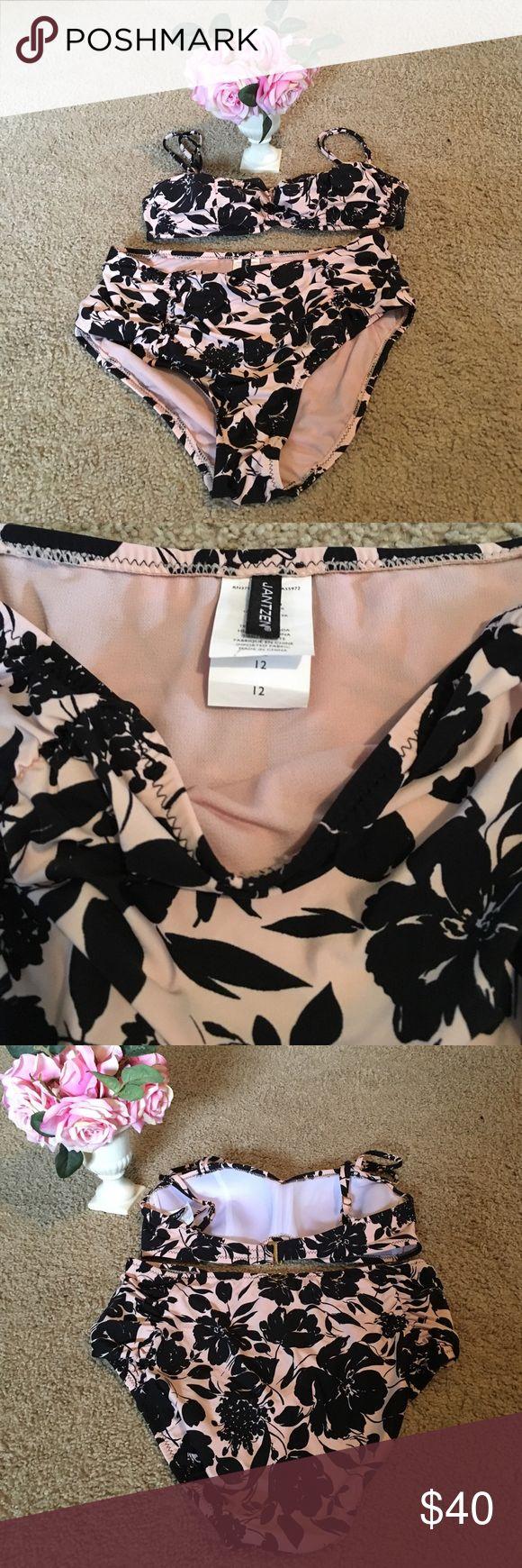 Jantzen 2 Piece High Waisted  Bathing Suit Pretty Taupe & Black Flowered Pattern - High Waisted Bathing Suit NWOT- Jantzen Swim Bikinis
